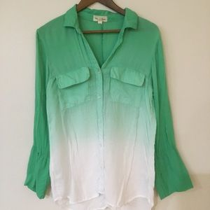 Cloth and Stone ombré button down green white sz M